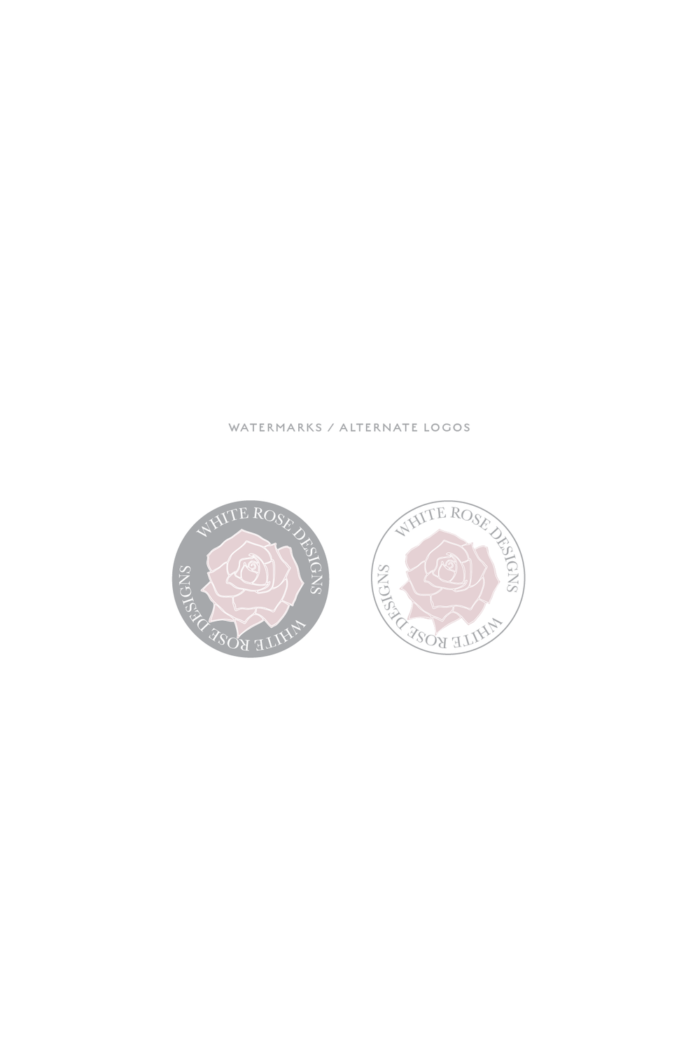 Pre Made Logo | White Rose Weddings brand board and watermarks