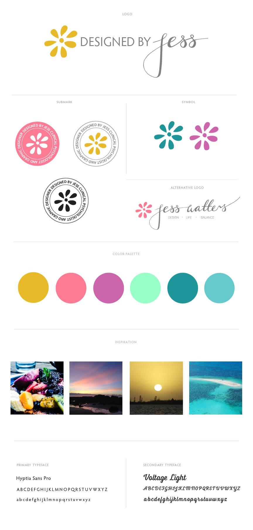 Updated Brand Board - Designed By Jess - Graphic design; branding; logo design and website design.