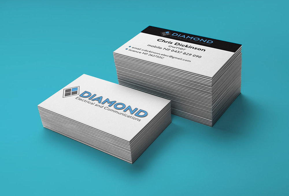 Diamond Electrical Business Cards - Designed by Jess