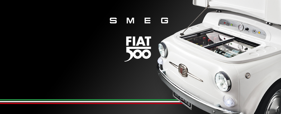 "Fiat 500 & Smeg: ""Born from an exciting collaboration between FIAT 500 and SMEG, a relationship that dates back to the 1950s, is an exclusive project which brings together two brands synonymous with the world of vintage style, design and technological know-how, in a brand new eye-catching form."" - SmegUSA.com"