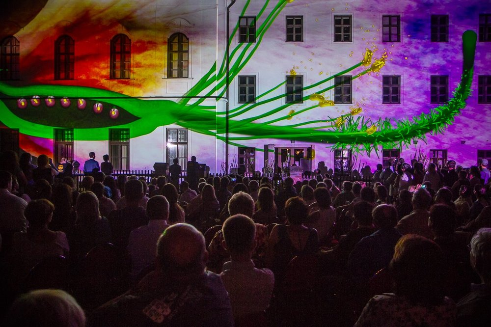 Abbey architectural projection show where Augustinian monk Gregor Mendel first discovered the principles of genetics. Celebrating 150 years, Brno Czech Republic 2015