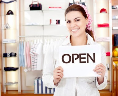 Female business owner opening a new retail store