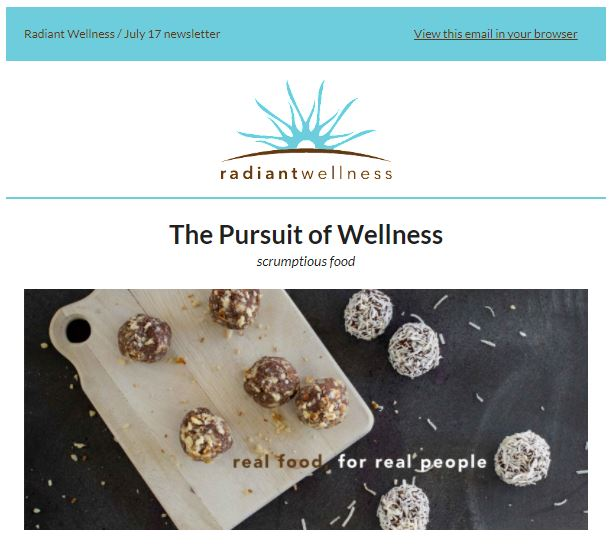 Radiant Wellness email top view
