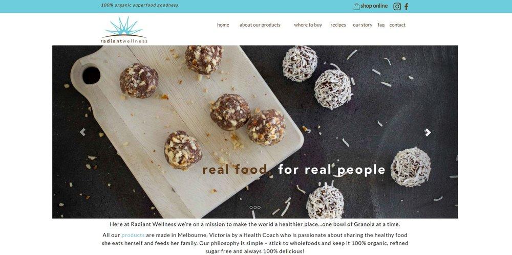 Radiant Wellness Website Top View