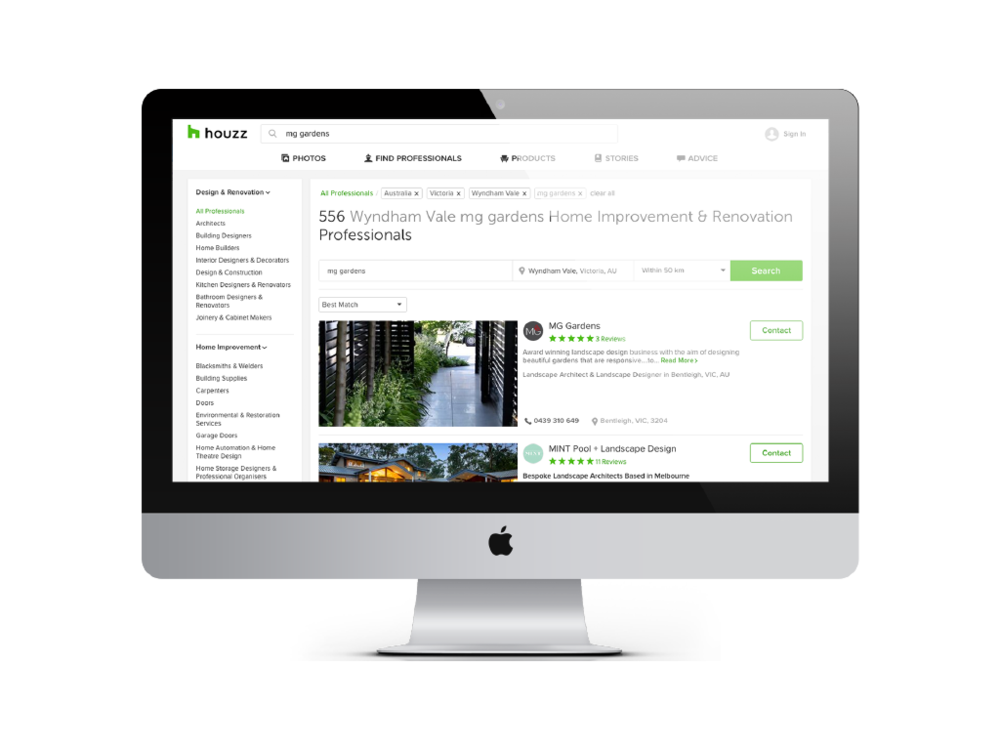 Example for online Directory Ad with Houzz (Mg Gardens)
