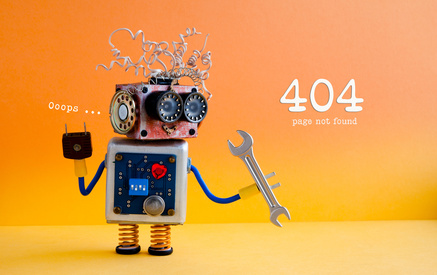 Error 404 page not found concept. Friendly crazy robot handyman with hand wrench on yellow orange background