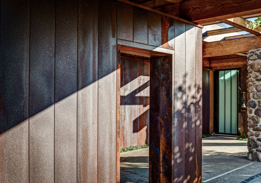 Entrance and Corten Cladding