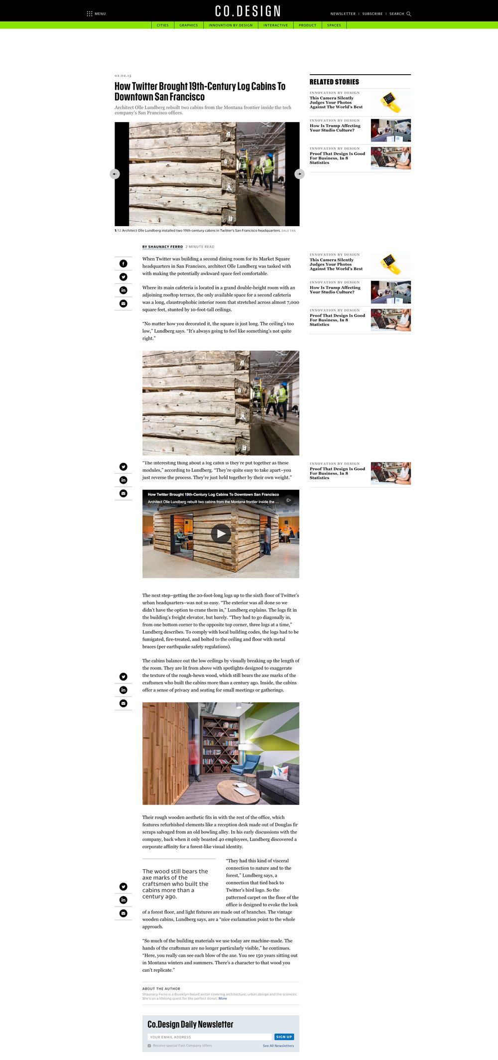 Fast Company Design   Twitter Log Cabin, Febuary 2, 2015