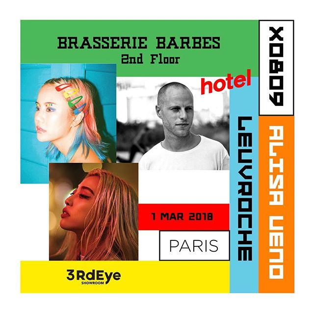 Throwing a party in Paris this Thursday! 9 PM - 2 AM on the 2nd floor of Brasserie Barbès ✨ Big thanks to @leuvrouche 💚 Come by for music from @hotelradioparis @alisaueno @x0809music 🤙🏻#x0809partytour
