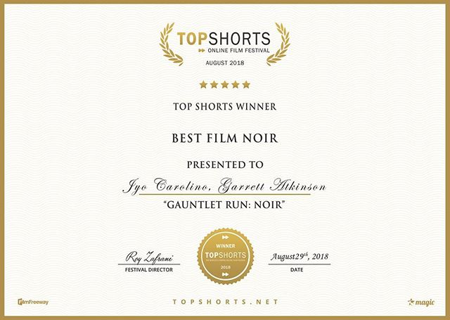 What a great start to #warriorwednesday! GAUNTLET RUN: Noir pulls off its first win for Best Film Noir. Thank you to Roy and everyone at Top Shorts for all your work!  #welcometothegauntlet #film #noir #festival #filmfestival #memphis #choose901 #indie