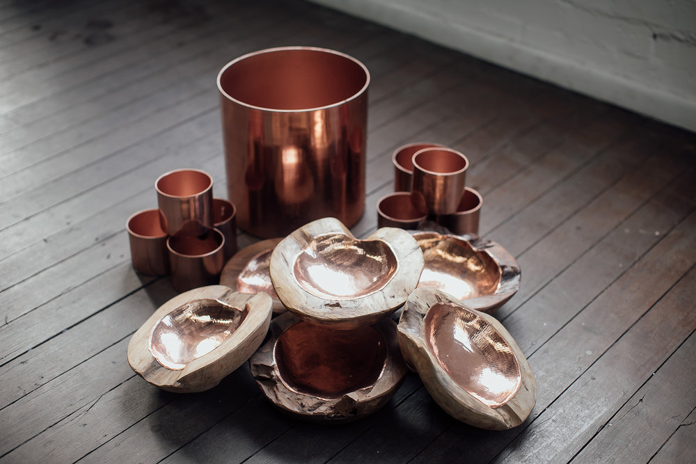 bronzed babe styling kit - 9 x organic royal ikebana bowls + 25 x small copper cylinders + 4 x lsrge copper cylinders - $500.00