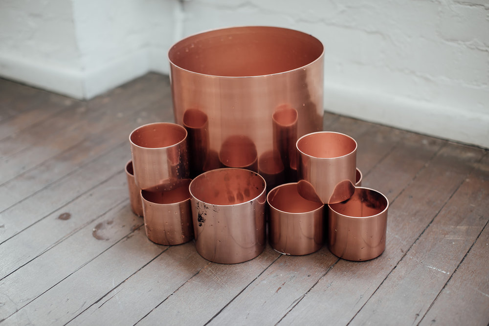 curled copper styling kit - 50 x small cylinders & 4 x large cylinders - $660.00 or $10.00 each for small & $40.00 each for large.