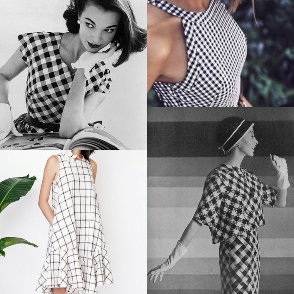 Skylines design mood board - Simple modern design, bias cut, interesting plaid placement