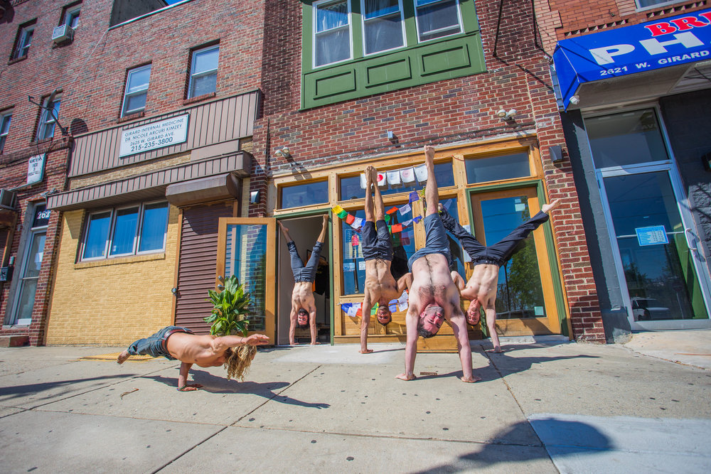 The Yoga and Movement Sanctuary tribe, Noah Julian, Emile Sorger, Ari Halbert, Johnathan Raiss, and Jacob Patrick Ellis