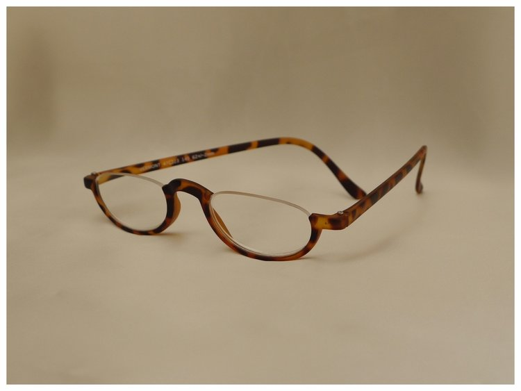 half-eye reading glasses in a tortoiseshell design.