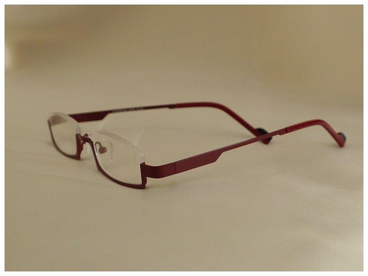 half-rim reading glasses in red
