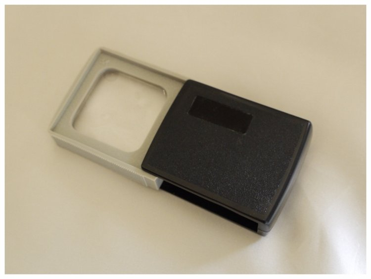 Sliding magnifier, 3x magnification