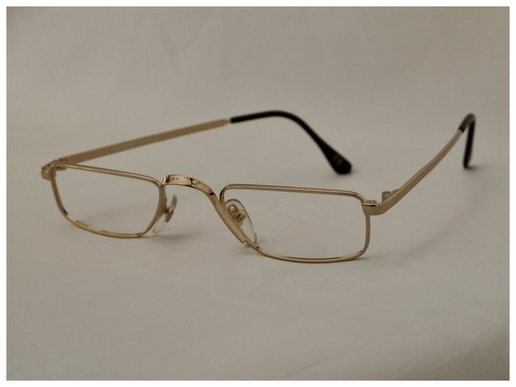 pair of gold, Savile Row reading glasses, spectacle frame ref. Chairman.