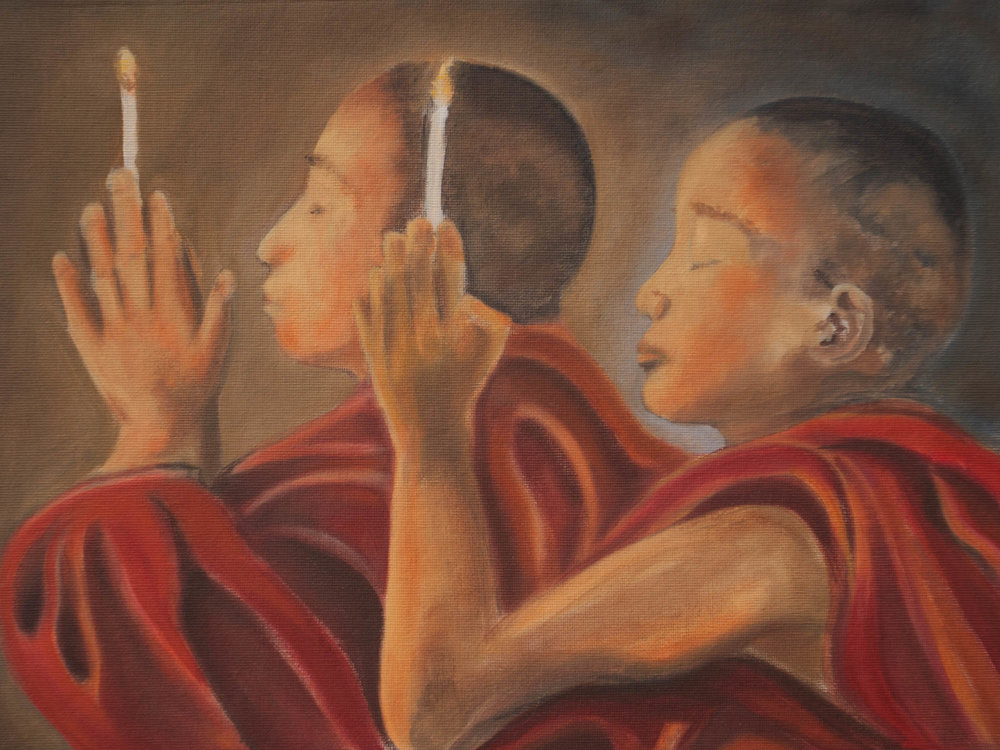 "Invocation/Myanmar, 12"" x 16"" Oil on Canvas Board, 2011"