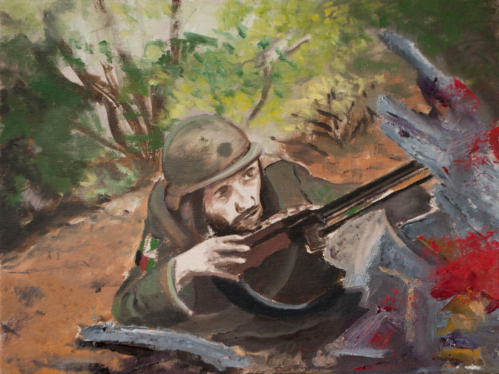 "Afghani Soldier/ Afghanistan, 12"" x 16"" Oil on Canvas Board, 2011"