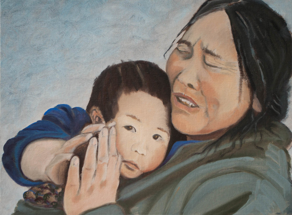 "Grandmother / Nepal, 12"" x 16"", Oil on Canvas Board, 2011"