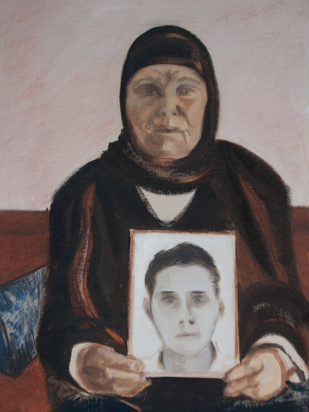 "Mother of the Arab Spring / Tunisia, 16"" x 12"", Oil on Canvas Board, 2011"