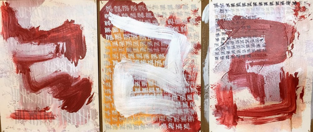 Triptych Study, Pros and Cons, Acrylic, Graphite & Marker on Paper, 2017