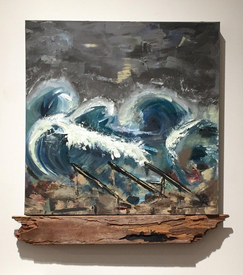 Homage to Superstorm Sandy, 27.5 x 27, Oil on Canvas w/boardwalk remnant