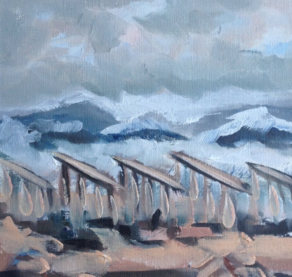 Study for Homage to Rockaway Boardwalk 2, 5.5 x 5.5 Oil on Canvas Paper, 2013