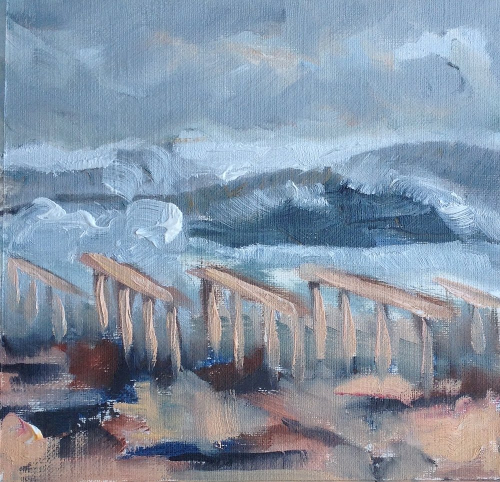 Study for Homage to Rockaway Boardwalk 1, 5.5 x 5.5., Oil on Canvas Paper, 2013