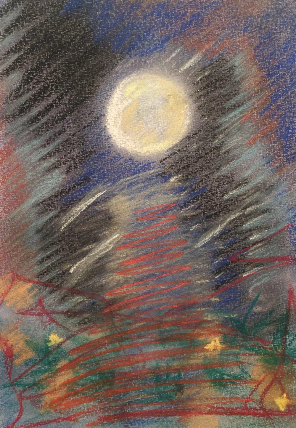 Full Moon Walk in the Catskills, 12 x 9 Pastel on Paper, 1996