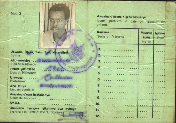 Rwandan ID card from 1994, clearly identifying the holder as a Tutsi - as good as a death sentence.