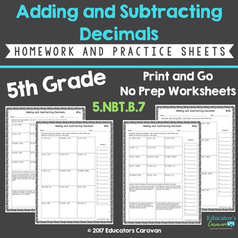 Adding and Subtracting Decimals Worksheets — Educator's Caravan