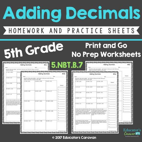 Adding Decimals Print and Go Worksheets — Educator's Caravan