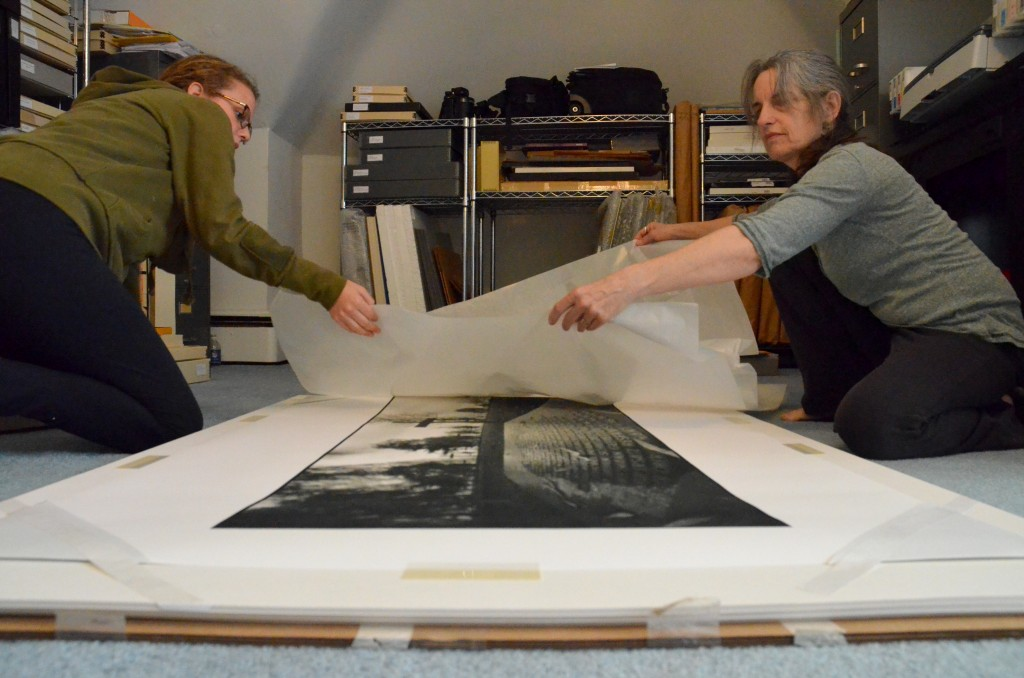 Alex McClay and I prepare a print for the DAI exhibition