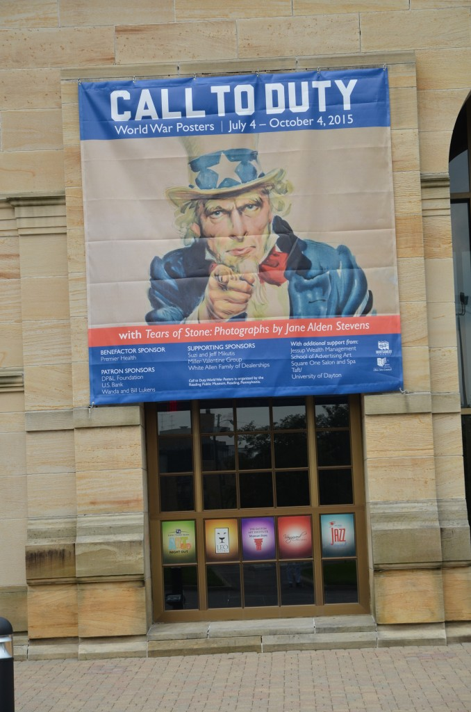 Banner announcing the two shows on the exterior of the Dayton Art Institute