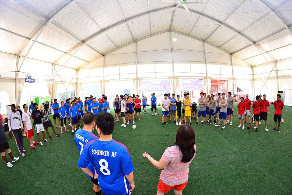 "DB Schenker - Our team was engaged Schenker Singapore (Pte) Ltd to plan and organise their Sports Day. The theme that we came up with was ""Sports Day"", and the different teams within Schenker competed against each other in Futsal and Basketball game!"