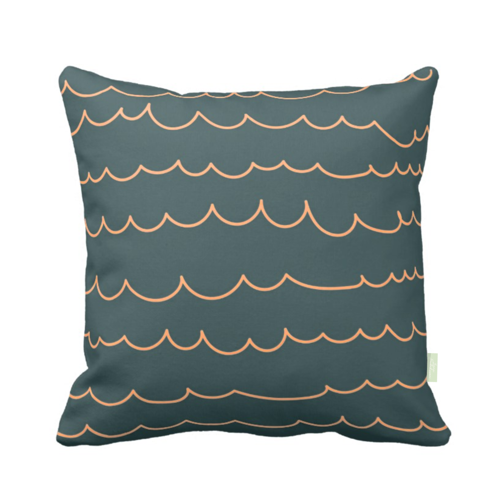 ISLET waves,  pillow, green