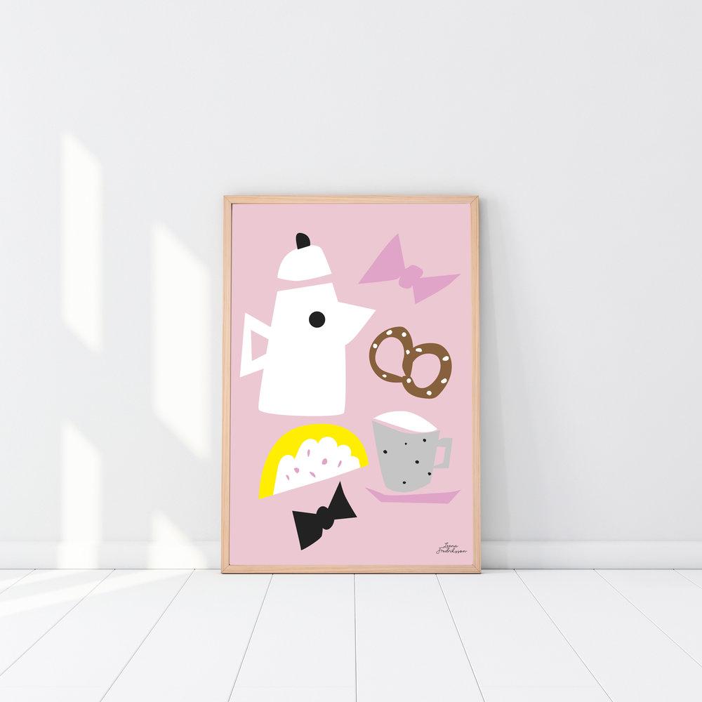 KOTI breakfast,  poster, pink