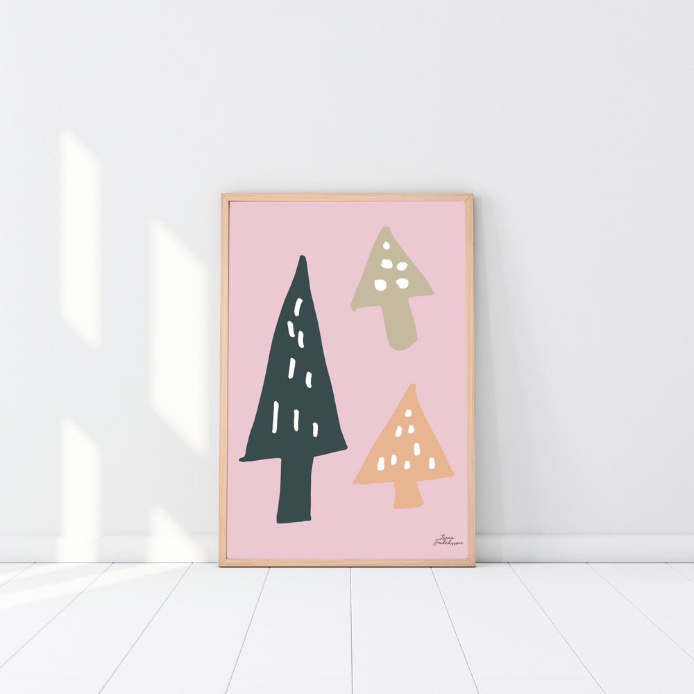 ISLET trees poster, pink