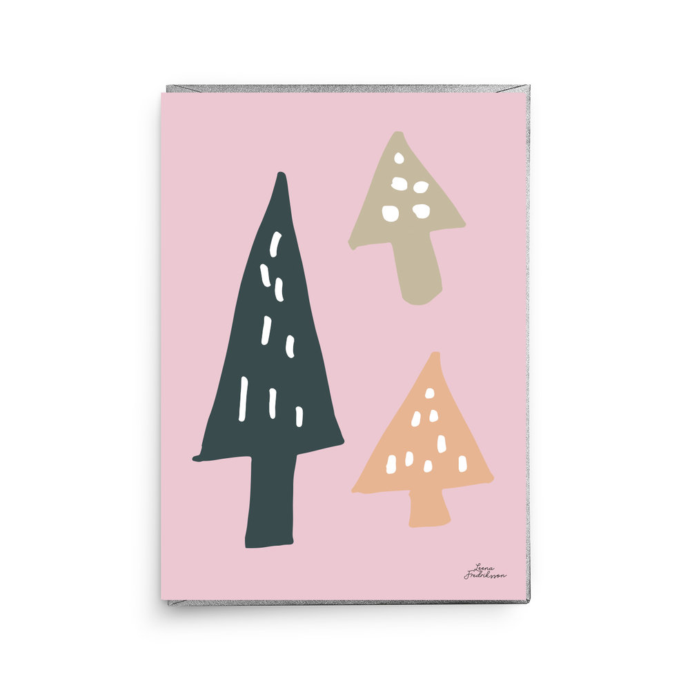 ISLET trees,  greeting card, pink