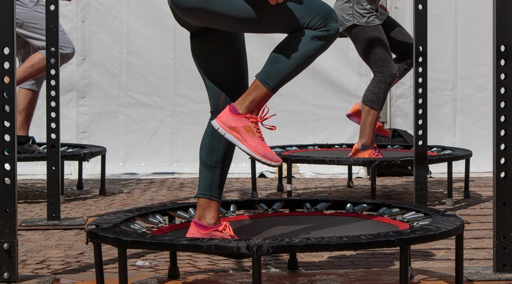 New and trending, especially in Brazil. Trampoline classes that burn insane cals & hit the abs.