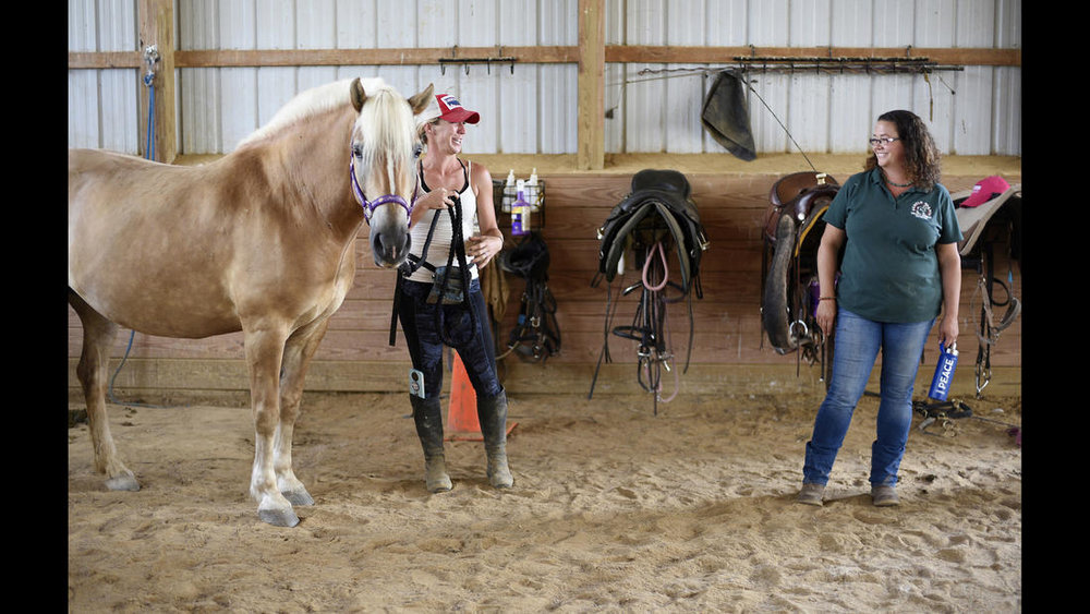 Executive Director Christine Hajek, right, talks with Lauren Bognovitz, left, working with Pandora, a female Haflinger, during a training session at Gentle Giants Draft Horse Rescue in Mount Airy Friday, July 13, 2018.