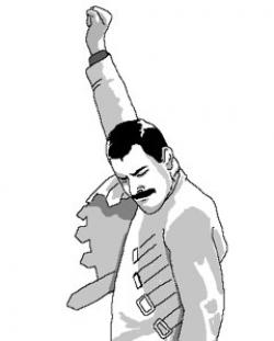 Freddie Mercury, triumphant.
