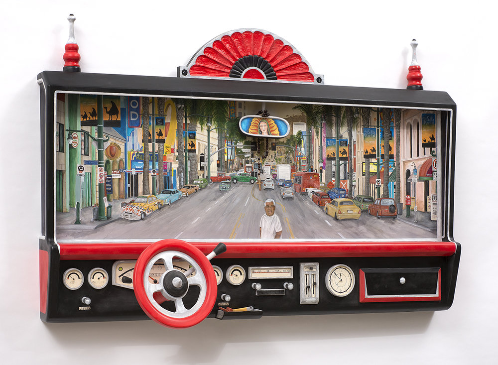 Cruising Hollywood: Homage to Magu , 2016. Carved and painted wood, 37 x 58 x 12 in. Collection of the artist . Photo © James Hart