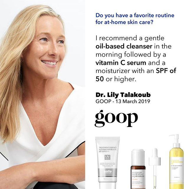 Lily Talakoub, MD, is famous for her in-office dermatologic techniques, but she also believes strongly in an at-home skin-care regimen high in vitamin C, glycolic acid, SPF 50, and oil cleansers (even for oily skin). Read the Full article today on Goop.com.  #dublinbeautybloggers #irishbeautybloggers #kbeauty #manyofactory #koreanbeauty #sunprotection #spf #goop #goodskin #clearskin #skincare #skincaretips