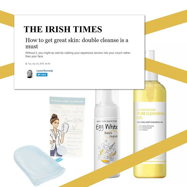 """If the idea of double-cleansing your face seems like alot of work, this article by@laura_m_kennedyin the Irish Times will definitely change your mind - """"How to get great skin: double cleanse is a must."""" Laura goes on to say """"If you only have time to make one major change to your skincare routine (provided you are wearing SPF – for the love of God, don't forgo that), it must be a proper double cleanse. Without it, you might as well be rubbing your expensive serums into your couch rather than your face."""" Double-cleansing is probably the keystone in the KBeauty regime and we have a great selection of cleansing oils and foam cleansers to choose from.  #mizon #manyofactory #kbeauty #doublecleanse #skincare #skincaretips  #beauty #instaskincare #clearskin #glowingskin #koreanbeauty  #irishbeautybloggers"""