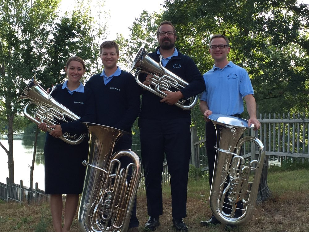 Blue Lake Faculty Tuba Euphonium Quartet behind the shell.