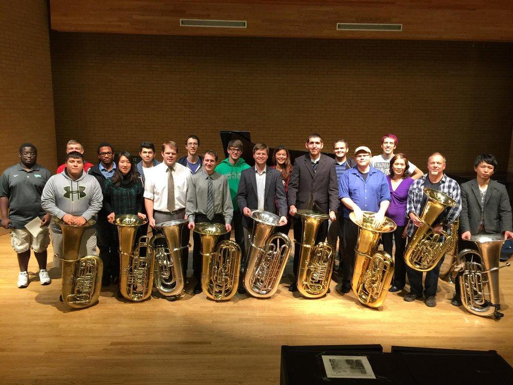 UNT Tuba Studio after my recital/masterclass.