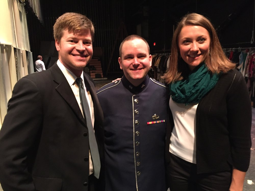 Post performance pic with Brandon Jones and Laura Ketchum.